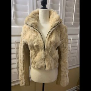 Bebe Beige Rabbit and Leather Cropped Jacket M